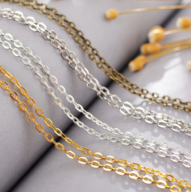 5meter in bulk Curb chain silver Stainless Steel 2mm Chain Jewelry Findings