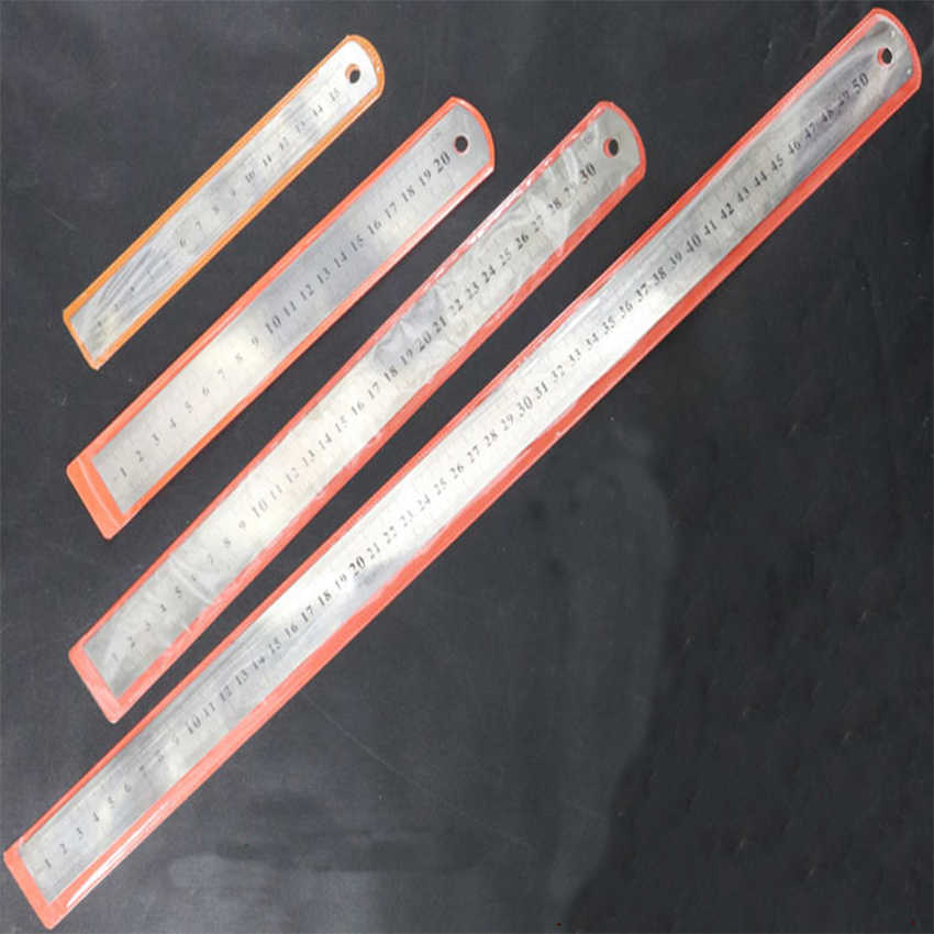 15/20/30/50 Cm 6/8/12/15 Inch Metric Aturan Stainless Steel penggaris Logam Lurus Penggaris Presisi Dua Sisi Penggaris
