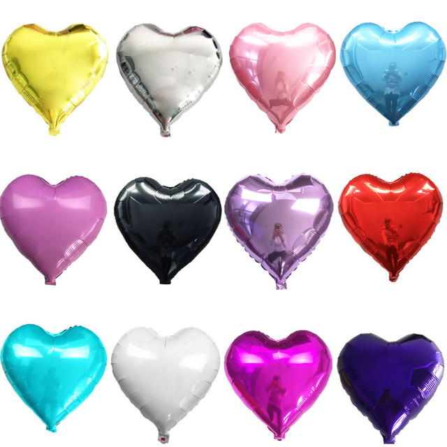 10pcs 18inch Romantic Heart Pearl Pink Foil Balloons Helium Birthday Wedding Valentine's Day Globos Party Decoration Air Balls