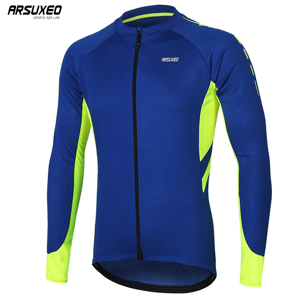 ARSUXEO Men's Full Zipper Cycling Jersey Bicycle Shirt Long Sleeves MTB Mountain Bike