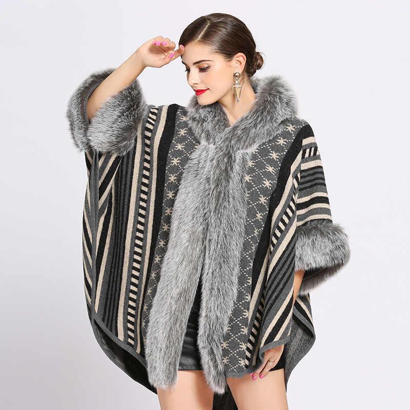 Модное Жаккардовое пончо с мехом кролика в полоску со звездами, плащ плотное шерстяное пальто с капюшоном, хорошее пончо из искусственного меха лисы