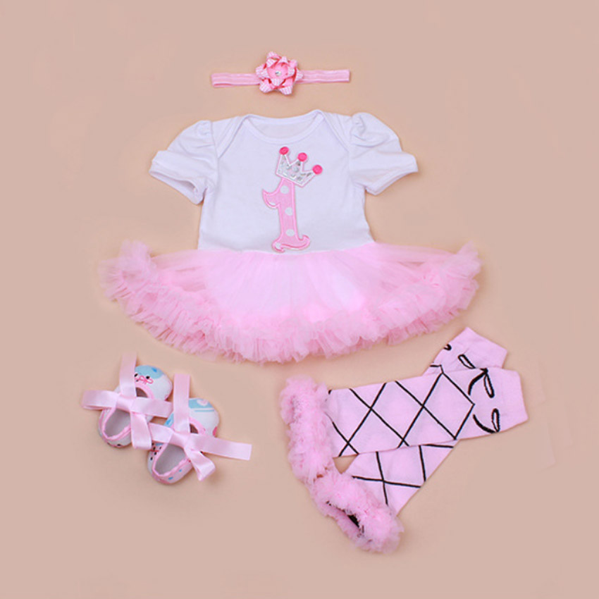 4PCs per Set Pink Crown 1st Baby Girls Birthday Party Dress Jumpersuit Headband Shoes Leggins for 0-24Months Free Shipping