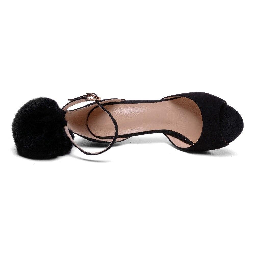 2018 33 Toe Talons Petit Furtado Fourrure Mode Arden Sandales Peep Red Taille black Stilettos De D'été Haute Boucle Sangle Boule L3jqcR54A