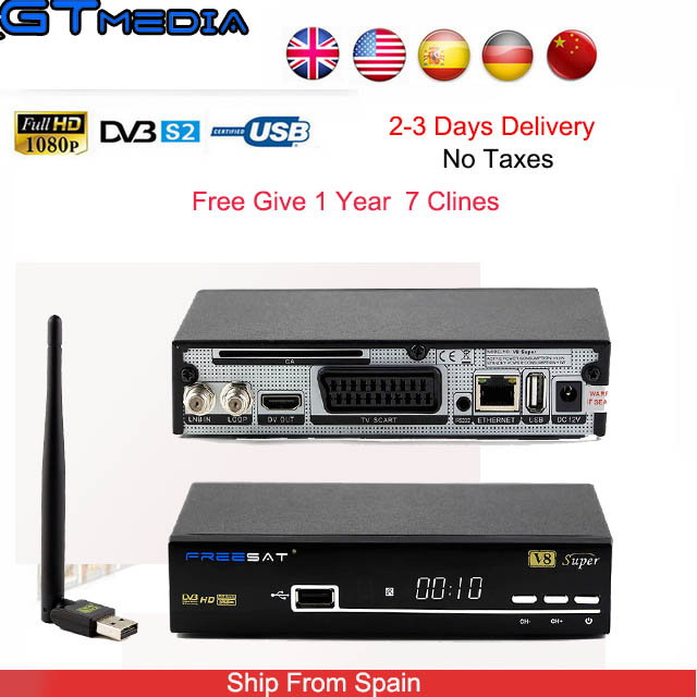 FREESAT V8 Super HD LNB MPEG4 Satellite Receivers Combo With Cccam Cline Server For 1 Year Europe Spain For Digital TV