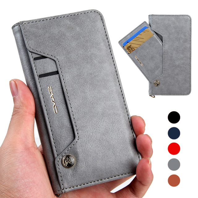font b 2018 b font Colorful Sided Card Holder Magnetic Flip Stand Leather Wallet Case