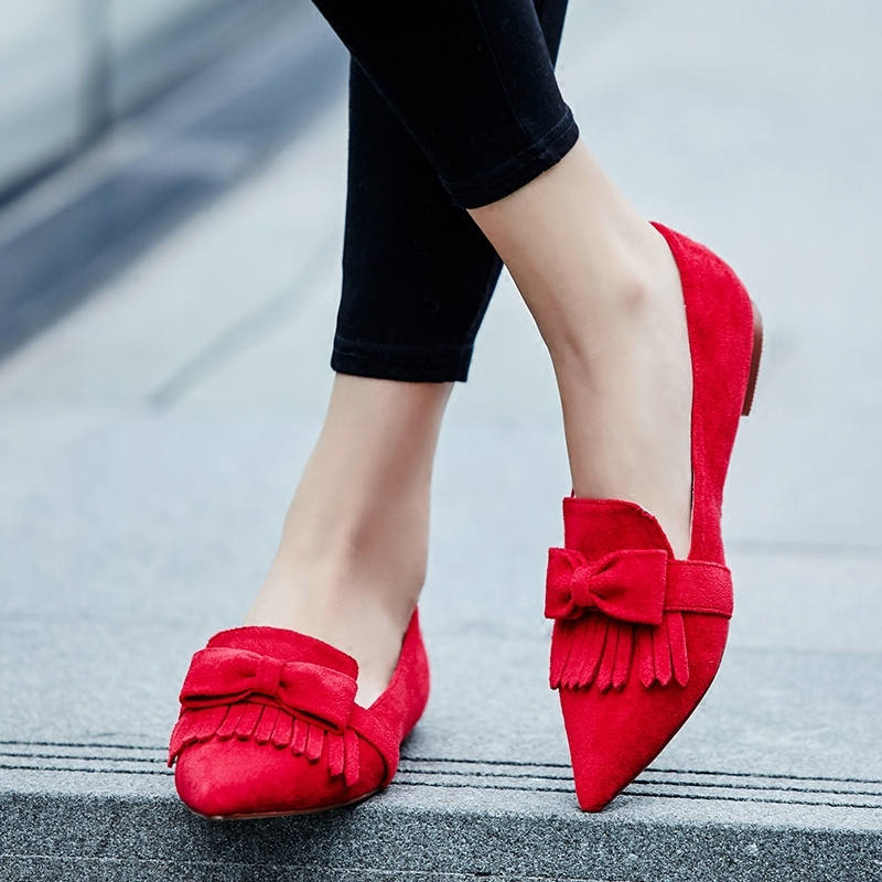 New Arrivals Red Faux Suede Leather