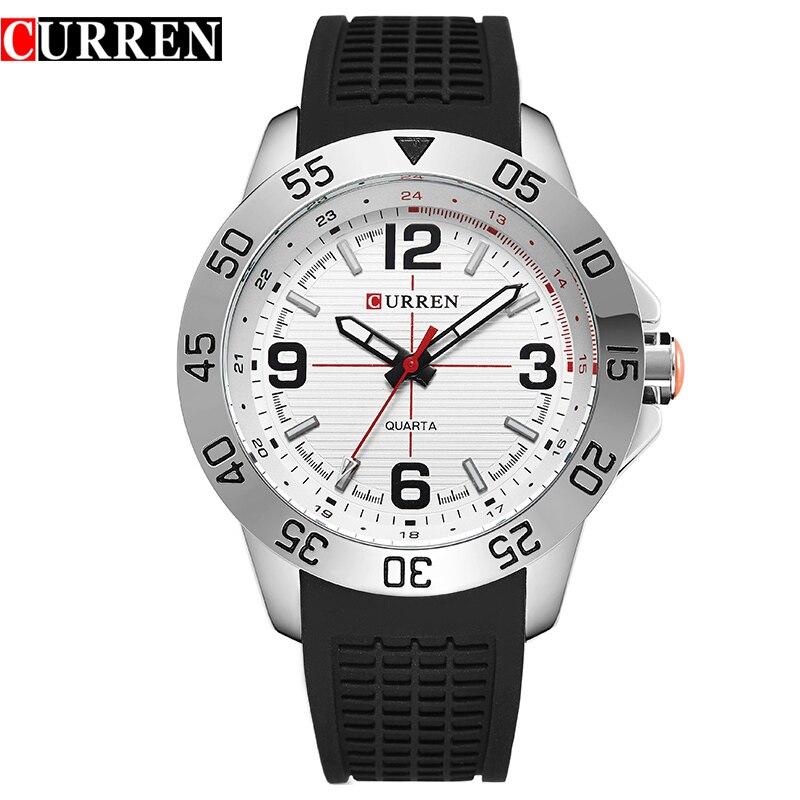 CURREN 8181 Men Sport Military Quartz Watches  Round Dial Large Digital Scale Analog WristWatch Relogio Masculino