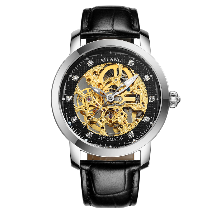 AILANG 6813 Switzerland watches men luxury brand Automatic Men Mechanical Watches Genuine Leather Waterproof reloj hombre wrist switzerland automatic mechanical men watch waterproof mens watches top brand luxury sapphire military reloj hombre b6036