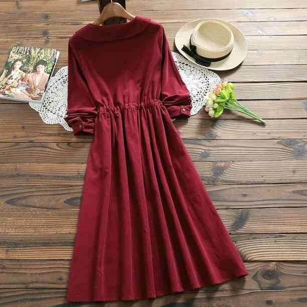 日本森ガールコーデュロイドレス 2019 新秋冬女性の人形の襟長袖長綿ドレス赤 DC721