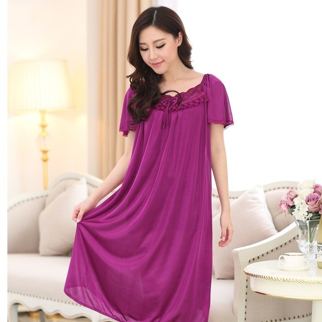 Free shipping Summer women   nightgown   female short-sleeve plus size   nightgown   lounge full dress sleepwear 4xl   Sleepshirts   Sexy