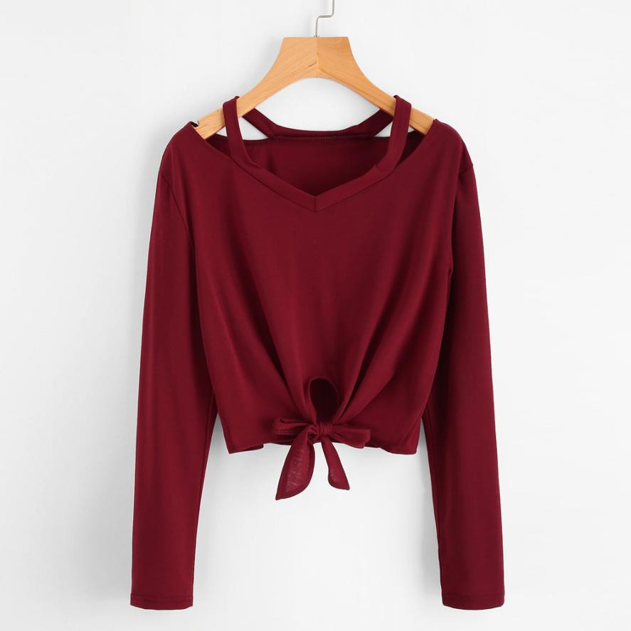 Lady V-Neck Loose Casual Sweat...