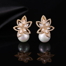 Bilincolor trendy white pearl with cubic zirconial flower golden fashion statement drop womens earrings in jewelry