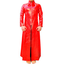 Red Wetlook PVC Faux Latex Trench Sexy Fantasy Halloween Costume Slim fit Men Vinyl Matrix Leather Catsuit Dress Coats