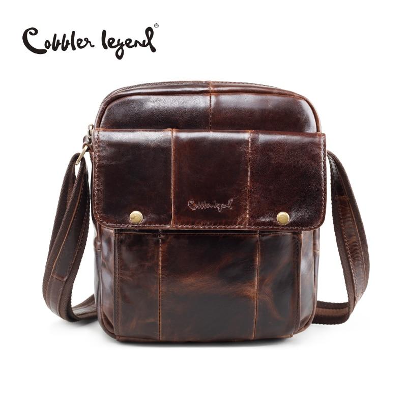 ФОТО Cobbler Legend Brand New Men's Genuine Leather Vintage Style Bag Male Crossbody Bags Real Leather Shoulder Bag For Men Handbag