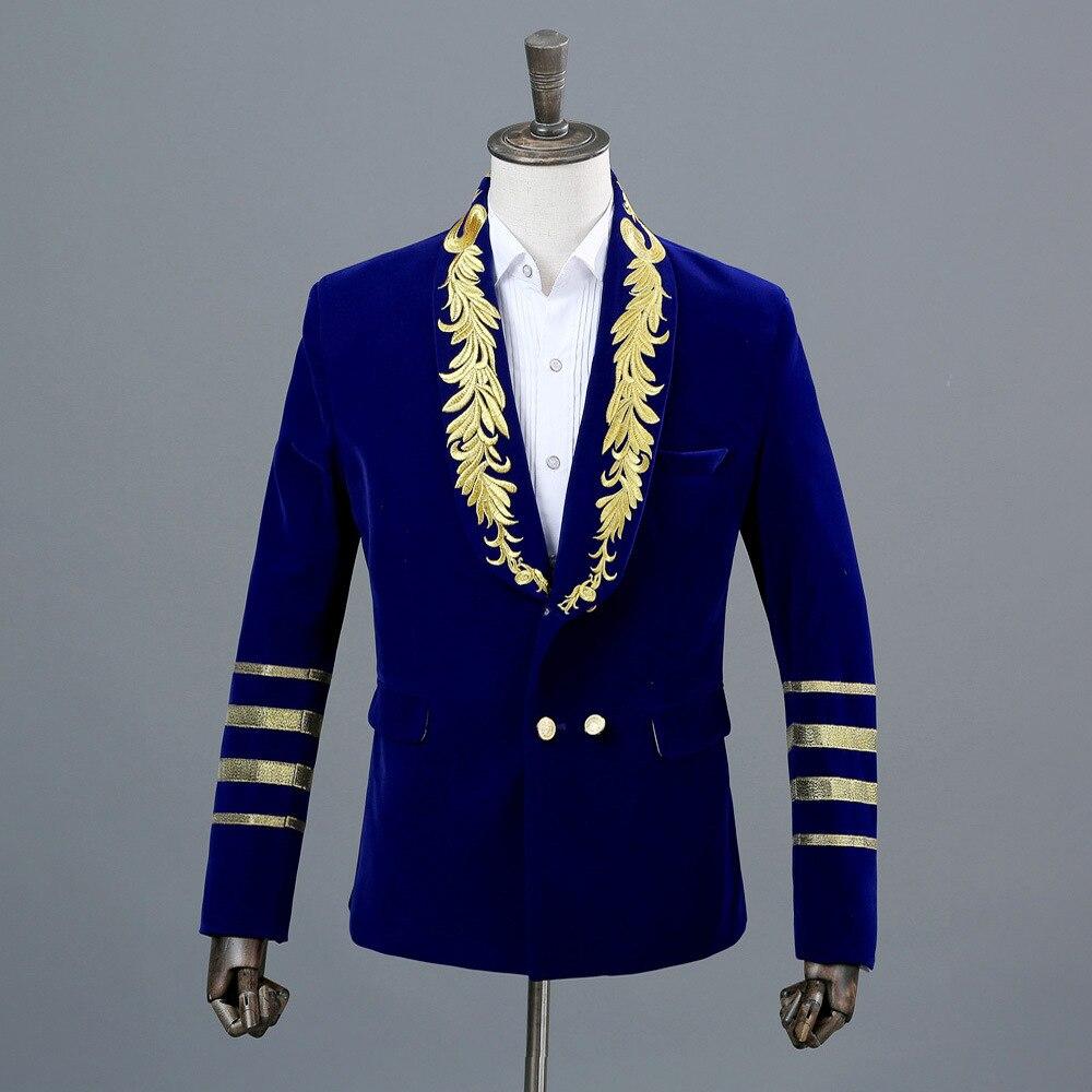 Блейзер для ночного клуба, мужской костюм, куртка,, сценические костюмы для певцов, DJ, черные мужские костюмы, пиджаки, черные блестки M - Цвет: Blue