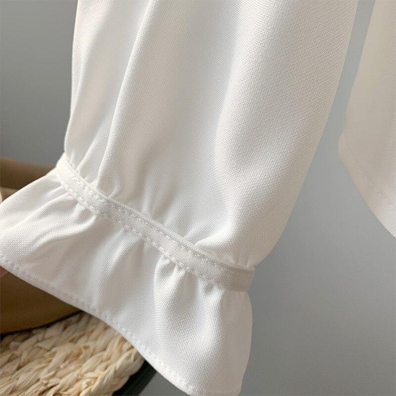 Manga Blusas 2019 Casual Volantes Blanco Cuello Blanco Marino azul Mujer Larga De Coreana Camisas Elegante Moda Tops qPFxzwXrnP