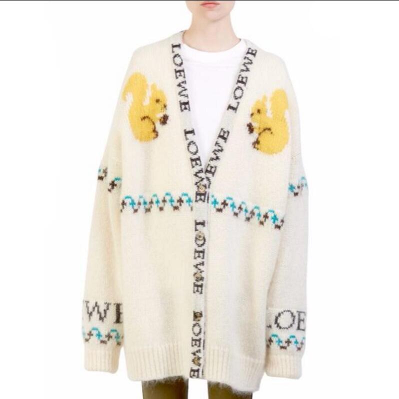 Élégant Chaud Moyen Long Écureuil Automne Hiver Chandail Cardigan Femmes 2018 V-cou Unique Poitrine Mohair tricoté chandail