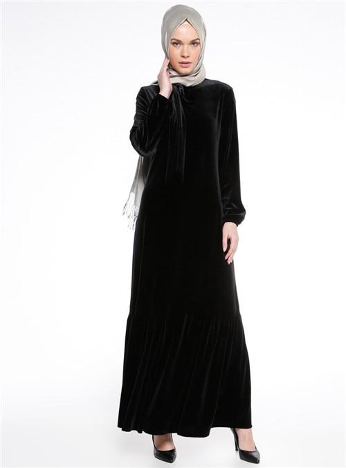 e2be669e US $29.58 10% OFF|New Velvet Muslim Robe For Women Long Maxi Dress Saudi  Arabia Dubai Abaya Turkish Arab Garment Traditional Islamic Clothing 086-in  ...