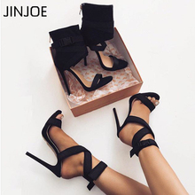 JINJOE Women High Heel Sandals Solid Fashion Buckle Strap Rhinestone Open Back Thin Summer Shoes