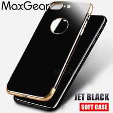 MaxGear Luxury Jet Black Soft Silicon Case for iPhone 6 Cases 6s Plus 7 7 Case Full Cover For iPhone 7 7 Plus 6 6S Phone Case