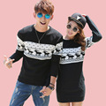 2016 Christmas Costumes Winter Men's Women O-neck Long Sleeve Sweaters and Pullovers Matching Deer Couple Christmas Sweaters