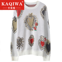 2018 new Autumn Winter Pullover Gem Heart Jacquard Knitwear Korean Fashion Jumper Vintage Runway Designer Brand Knitted Sweater