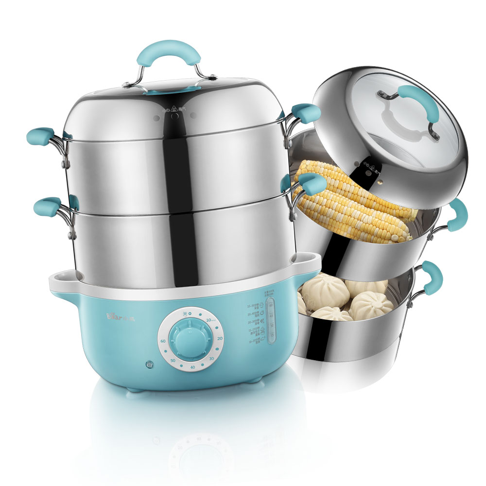 Bear Electric Steamer Steamed Two Layers Stainless Steel Cooker ...