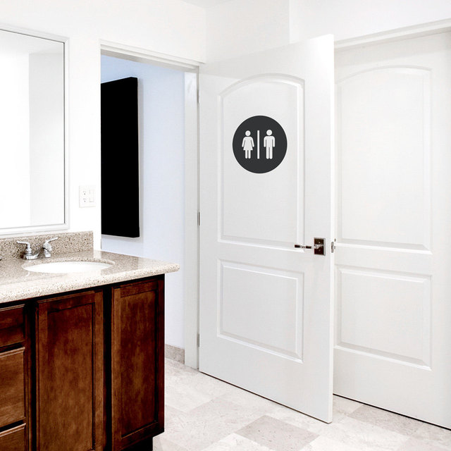 Restroom Circle Uni Bathroom Door DIY Wall Decal Men And Women ... on women in cooking, women in bathtubs, women using bathroom, women needing bathroom badly, women bathroom pee, two women bathroom, women in sweaters and jeans, women in animals, women in sink, women need bathroom she go, women in attic, women in gardening, women in walls, women in water, women in wc, women in hardware, women period, women in soap, women in car, women in ragged clothes,