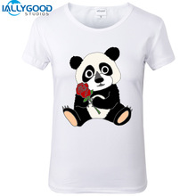 New Summer Fashion Funny Panda with Rose Art T-Shirts Women Cute Bear Printed T Shirts Soft Cotton White Tops S1190