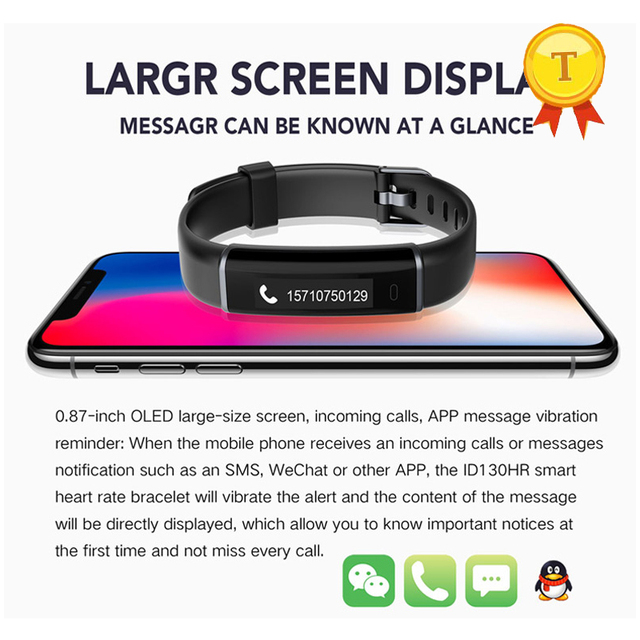Hot Selling heart rate monitor fitness tracker watch smart bracelet band  support whatsapp twiiter instagram message push-in Smart Wristbands from
