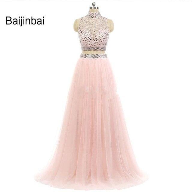 Baijinbai Real New Ankunft High Neck Pfirsich Zwei Stück Prom Kleid ...