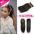 Malibu Dollface Wiggins Hair Peruvian Virgin Hair with Closure 3\4 Bundles with Closure Straight Human Hair Extensions