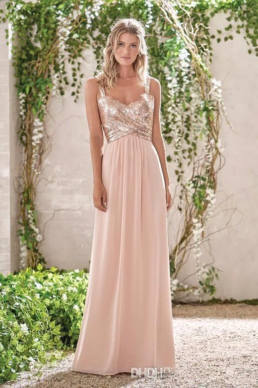 Rose Gold 2019   Bridesmaid     Dresses   For Women A-line Chiffon Sequins Backless Long Cheap Under 50 Wedding Party   Dresses