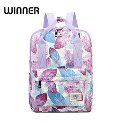 Winner Casual Leaves Printing Pattern Female Shoulder Back Bag Fashion Classic Women Laptop Backpack Girls Schoolbag