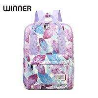 Winner Casual Leaves Printing Pattern Female Shoulder Back Bag Fashion Classic Women Laptop Backpack Girls Schoolbag