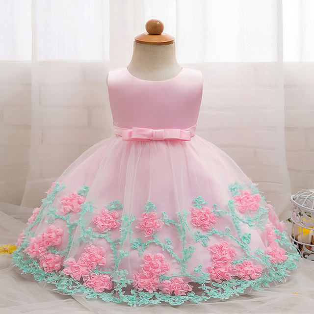 e300f385a8676 US $10.13 18% OFF|NewBorn Baby Girls Clothes Floral Dresses Party Wedding  1st Birthday Outfits Litter Princess Baptism Christening Infant Clothing-in  ...