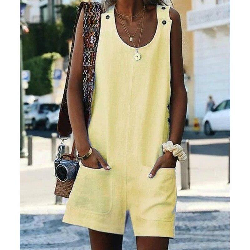Sleeveless Linen Overall Jumpsuit Homewear Women 2020 Summer Cotton Linen  Loose Casual Playsuit Combinaison Femmel Dropshipping