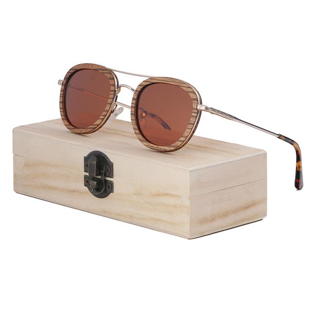 Unisex Round Wooden Sunglasses