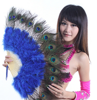 10 Colors High Quality Stage Performance Props Feather Folding Hand Fans Belly Dance Peacock Feathers Dance