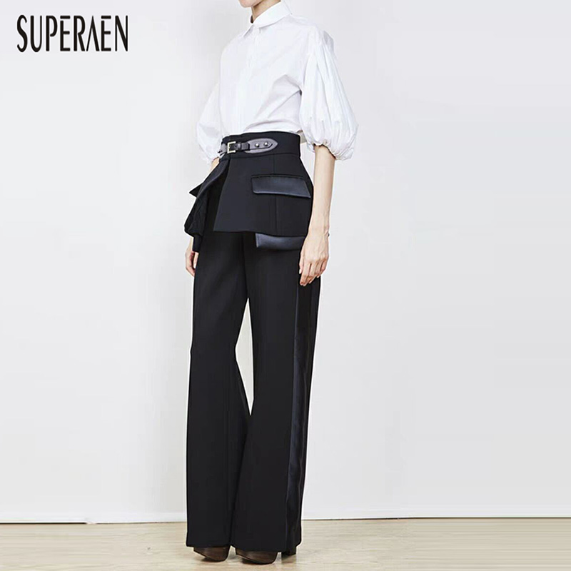 SuperAen Europe Women Long   Pants   2019 Spring and Summer Fashion New Cummerbunds Casual   Pants   High Waist   Wide     Leg     Pants   Women