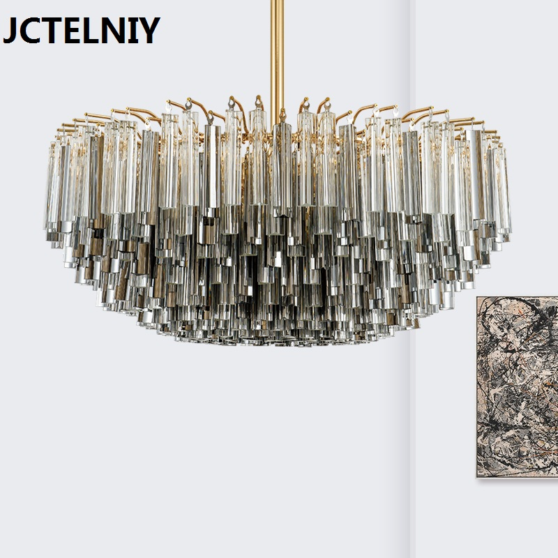 New deluxe crystal rod LED chandelier postmodern personality design Nordic style living room exhibition hall fashion lamp