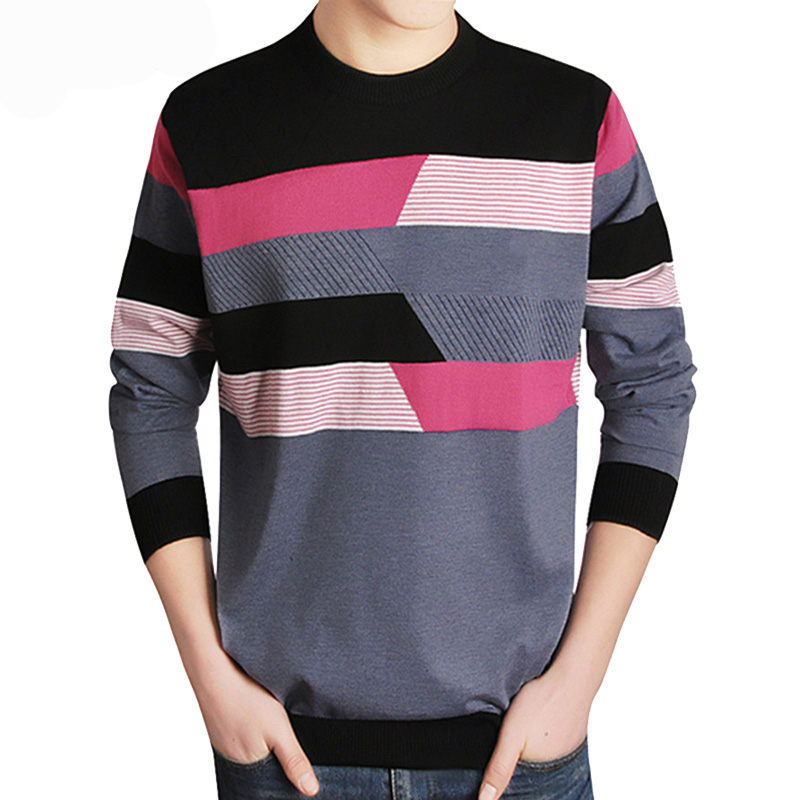 Drop Shipping Sweater Men Casual Brand O-Neck Clothing Cashmere Wool Pullover Men Long Sleeve Discount Patchwork Top Coat