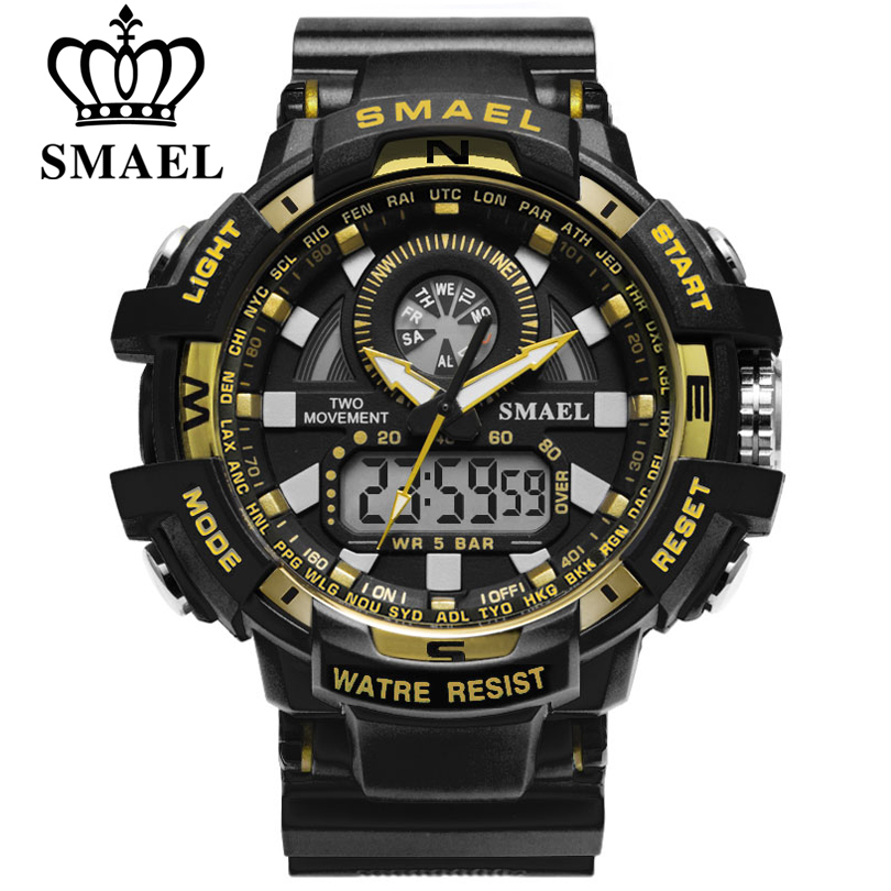 SMAEL Men Military Watch LED Quartz Clock Sport Watches for Male Dual Display Wristwatches relogios masculino 30m Waterproof