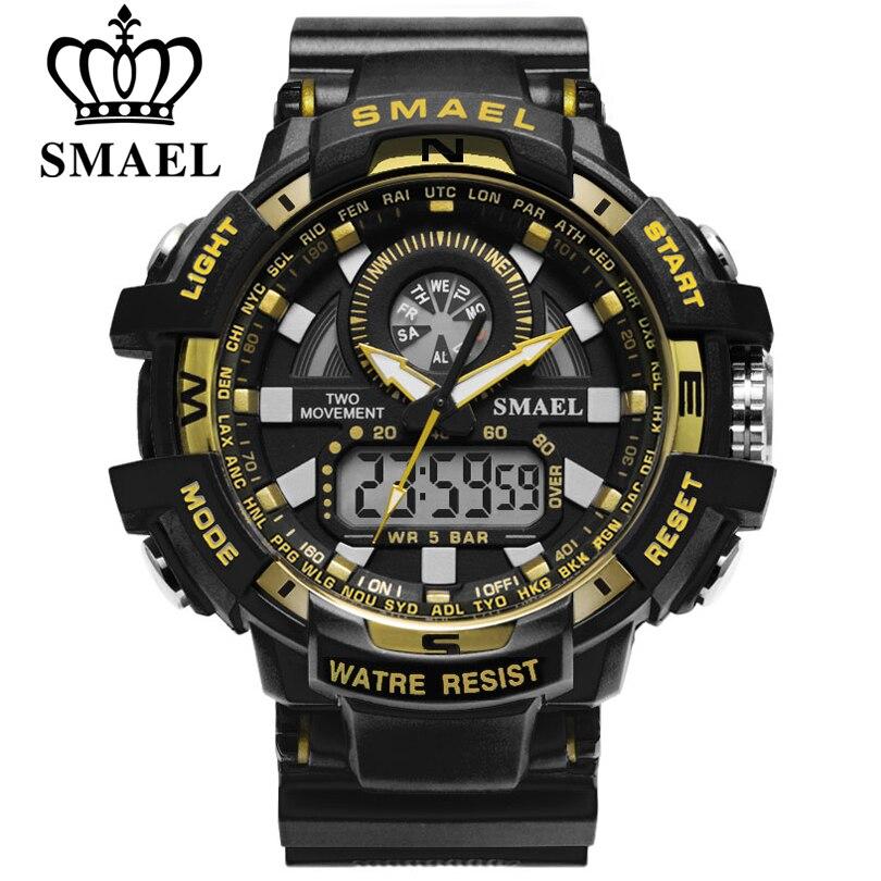 SMAEL Homme Montre Militaire LED Horloge À Quartz Montres de Sport pour Hommes Double Affichage Montres relogios masculino 30 m Étanche