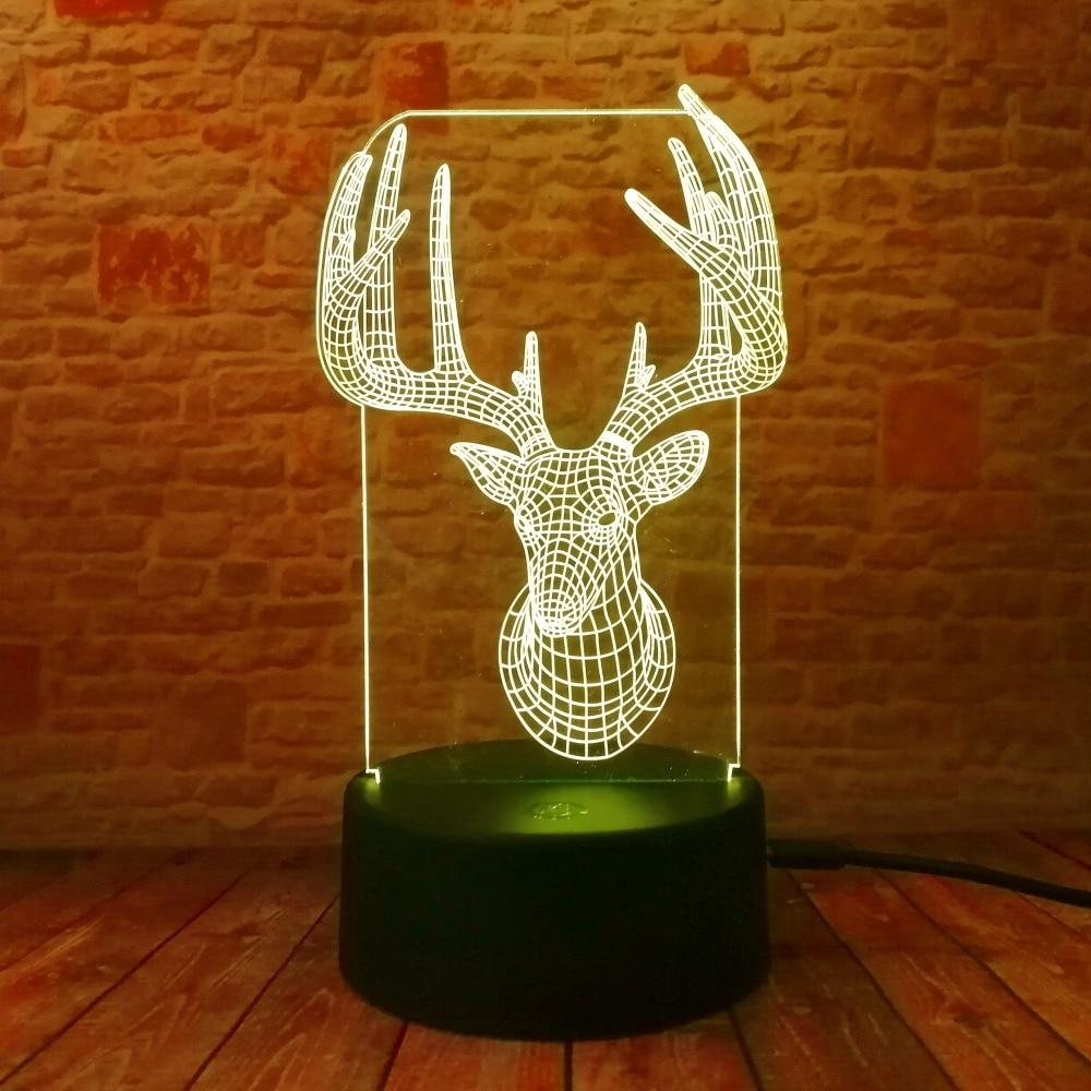 Novelty 3D Long Horned Deer Christmas Decor Night Light Lamp Gadget - Night Lights - Photo 5