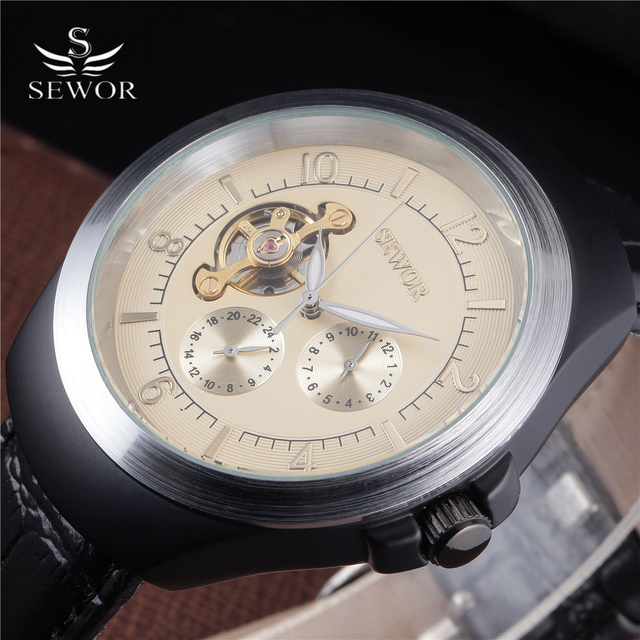 SEWOR 2016 New Luxury Casual Tourbillon Clock Men Automatic Watch Skeleton Business Watches Mechanical Montre Wristwatch Mens