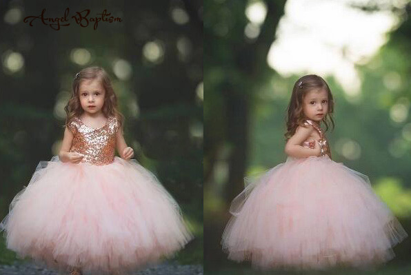 Stunning baby pink flower girl dresses floor length ball gown tutu sequined bling bling frocks for infant 1 year birthday party
