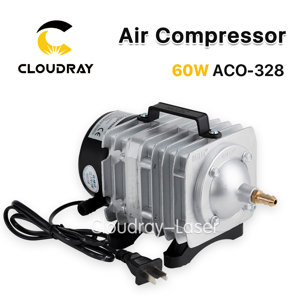 Cloudray 60W Air Compressor Electrical Magnetic Air Pump for CO2 Laser Engraving Cutting Machine ACO-328 oil free air compressor high pressure gas pump spray woodworking air compressor small pump 3 1100 100l