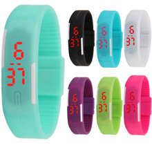 Promotional LED digital display fashion touch children s bracelet student electronic watch gift couple color silicone