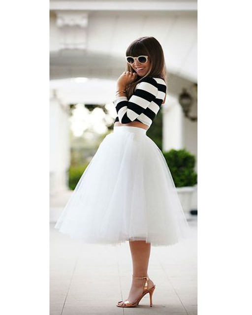 Envío Libre Blanco Midi Falda de Tul Noche Ocasión Partido faldas mujer faldas largas de la Nueva Llegada de Las Mujeres faldas largas